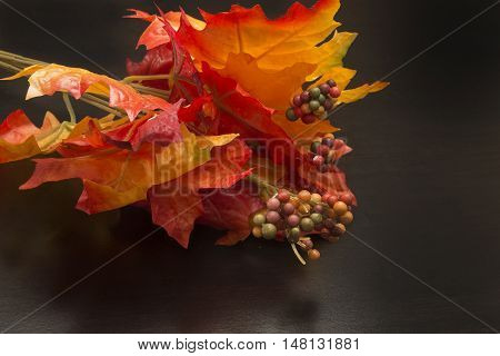 Red orange and yellow autumn decorative leaves on a black surface