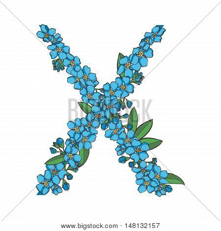 Forget me not vector alphabet. Letter X