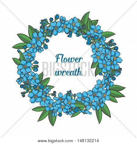 Blue Forget me not vector round wreath