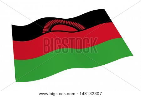 Malawi flag isolated on white background from world flags set. 3D illustration.