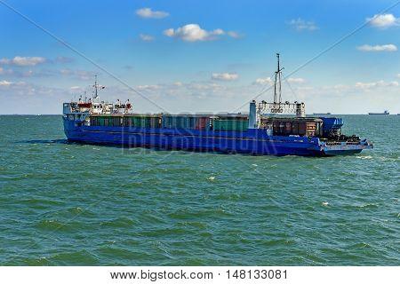 Railway ferry crosses the Strait of Kerch