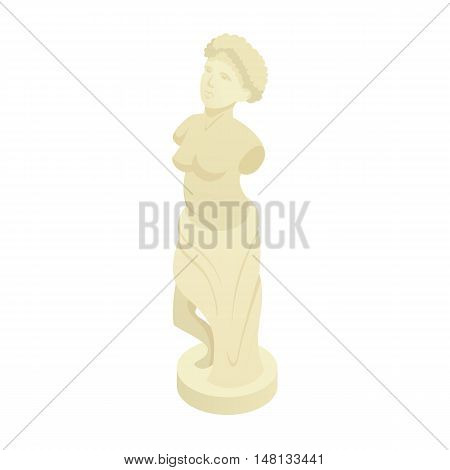 Ancient Greek statue icon in cartoon style isolated on white background vector illustration
