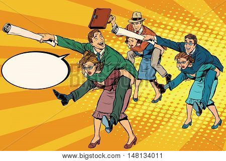 Business people office battle, men riding women, pop art retro vector illustration. Gender inequality