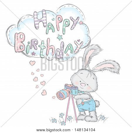 Cute hare with a camera. Birthday gift. Vector illustration for a card or poster. Print on clothes.
