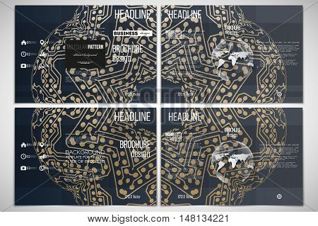 Vector set of tri-fold brochure design template on both sides. Golden microchip pattern, abstract template with connecting dots and lines, connection structure. Digital scientific vector background