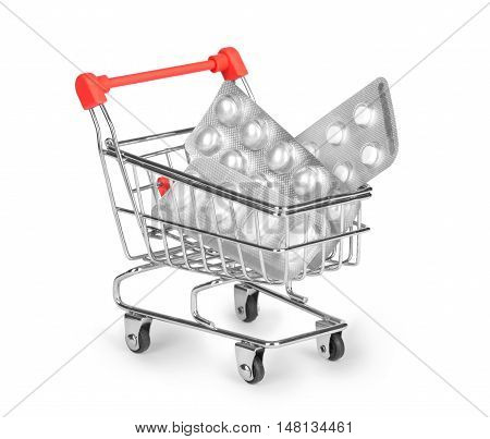 shopping cart pills isolated on white background