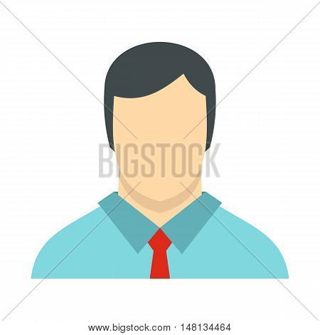 Male avatar with shirt and tie icon in flat style isolated on white background. People symbol vector illustration