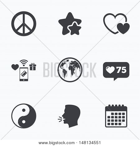 World globe icon. Ying yang sign. Hearts love sign. Peace hope. Harmony and balance symbol. Flat talking head, calendar icons. Stars, like counter icons. Vector