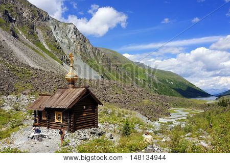 Orthodox Wooden Church in Altai Mountains, Belukha Glacier, Russian Federation