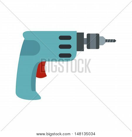 Drill icon in flat style isolated on white background. Tool symbol vector illustration