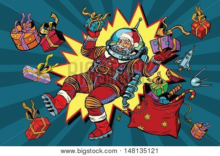 Space Santa Claus in zero gravity with Christmas gifts, pop art retro vector illustration. Comic background