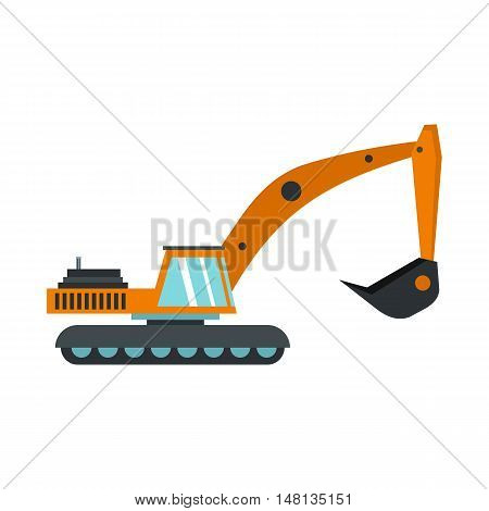 Excavator icon in flat style isolated on white background. Digging machine symbol vector illustration