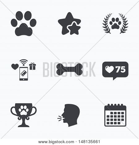 Pets icons. Dog paw sign. Winner laurel wreath and cup symbol. Pets food. Flat talking head, calendar icons. Stars, like counter icons. Vector