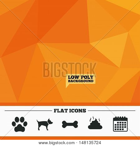 Triangular low poly orange background. Pets icons. Dog paw and feces signs. Clean up after pets. Pets food. Calendar flat icon. Vector