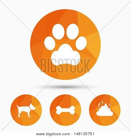 Pets icons. Dog paw and feces signs. Clean up after pets. Pets food. Triangular low poly buttons with shadow. Vector