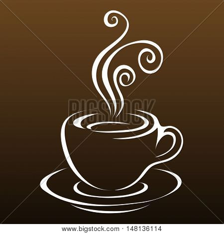 Line art coffee isolated on brown