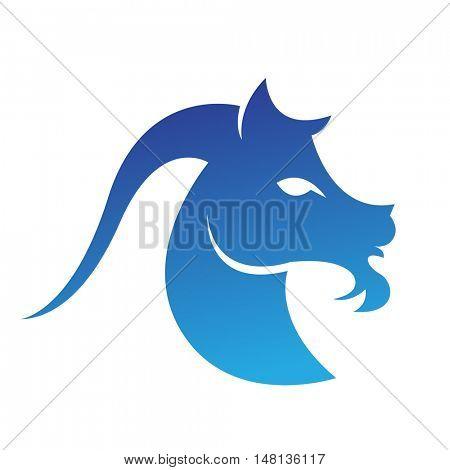 Zodiacs blue capricorn isolated on white