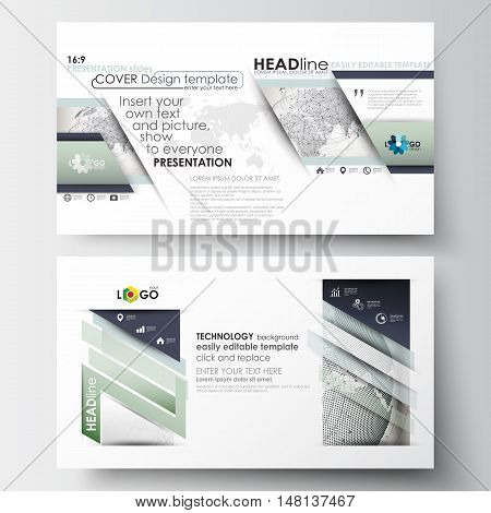 Business templates in HD size for presentation slides. Easy editable abstract layouts in flat design. Dotted world globe with construction and polygonal molecules on gray background, vector illustration