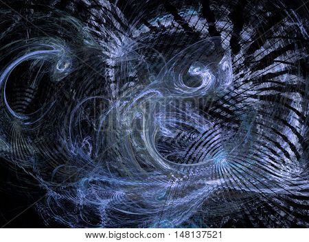 Abstract purple chaos fractal on black background