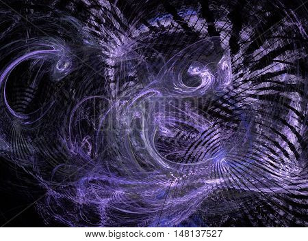 Abstract purple light chaos fractal on black background