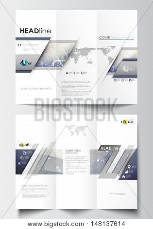 Tri-fold brochure business templates on both sides. Easy editable abstract layout in flat design. DNA molecule structure on blue background. Scientific research, medical technology.