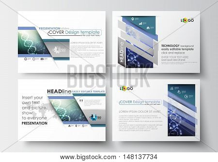 Set of business templates for presentation slides. Easy editable abstract layouts in flat design. DNA molecule structure, science background. Scientific research, medical technology.