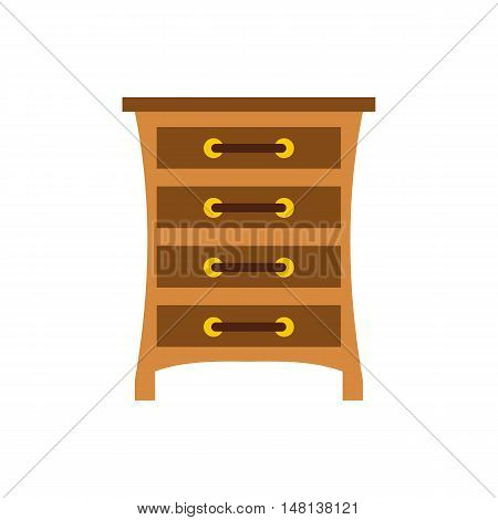 Chest of drawers icon in flat style isolated on white background. Furniture symbol vector illustration