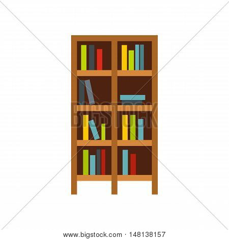 Shelf of books icon in flat style isolated on white background. Furniture symbol vector illustration