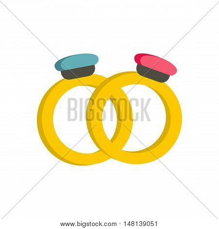 Engagement rings icon in flat style isolated on white background. Wedding symbol vector illustration