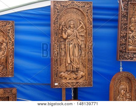 Wooden icons are executed by the master woodcarving