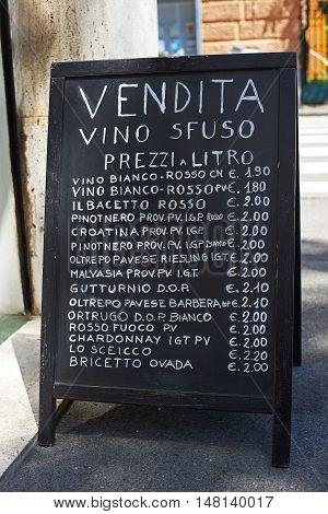 Wines Price List On A Chalkboard Plaque In Genova, Italy
