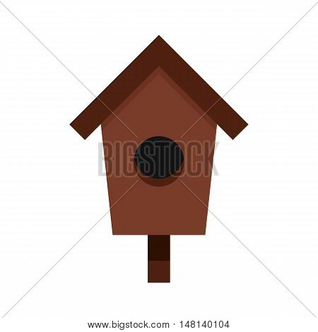Birdhouse icon in flat style isolated on white background. Bird symbol vector illustration