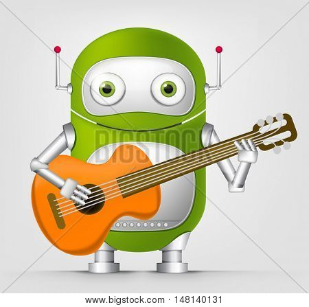 Cartoon Character Cute Robot Isolated on Grey Gradient Background. Guitarist.