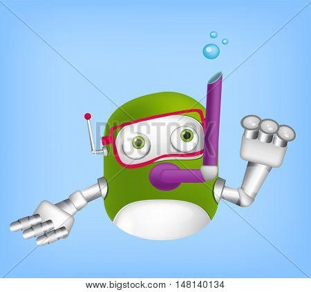 Cartoon Character Cute Robot Isolated on Grey Gradient Background. Diver.