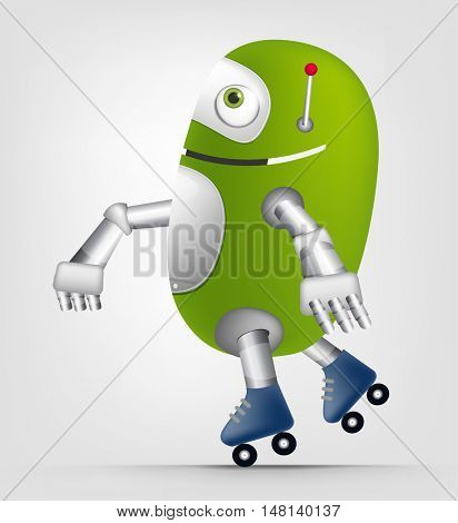 Cartoon Character Cute Robot Isolated on Grey Gradient Background. Roller.