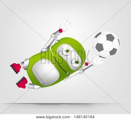 Cartoon Character Cute Robot Isolated on Grey Gradient Background. Soccer.