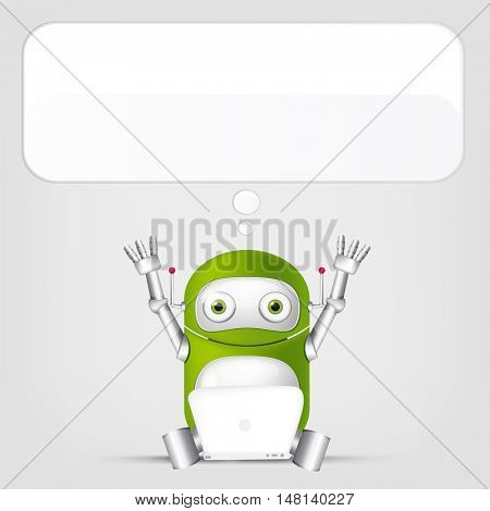 Cartoon Character Cute Robot Isolated on Grey Gradient Background. Coder.