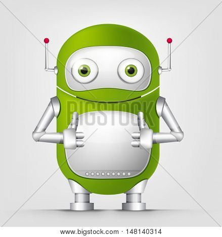 Cartoon Character Cute Robot Isolated on Grey Gradient Background. Cool.
