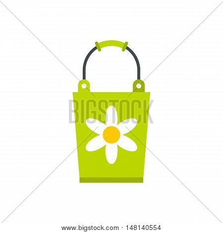 Green bucket icon in flat style isolated on white background. Cleaning symbol vector illustration