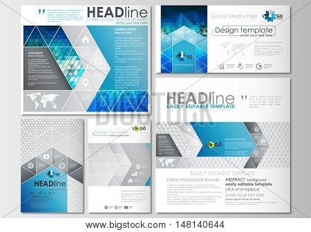Social media posts set. Business templates. Cover design template, easy editable, abstract flat layouts in popular formats. Abstract triangles, blue and gray triangular background, modern colorful polygonal vector.