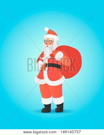 Santa Claus carrying big sack on his shoulder. Cute christmas character