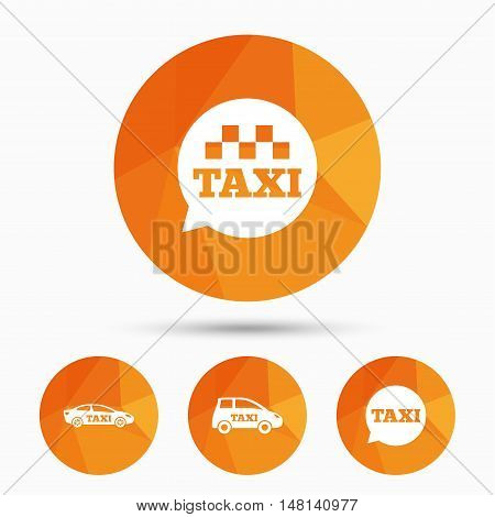 Public transport icons. Taxi speech bubble signs. Car transport symbol. Triangular low poly buttons with shadow. Vector