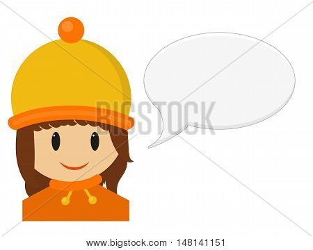Isolated illustration of smiling young girl in winter cloth with speech bubble girl is wearing yellow and orange hat and sweater with scarf isolated on white
