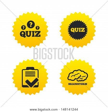 Quiz icons. Brainstorm or human think. Checklist symbol. Survey poll or questionnaire feedback form. Questions and answers game sign. Yellow stars labels with flat icons. Vector