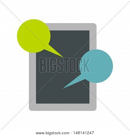 Tablet and speech bubble icon in flat style isolated on white background. Message symbol vector illustration