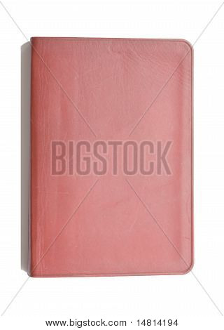 red leather notebook