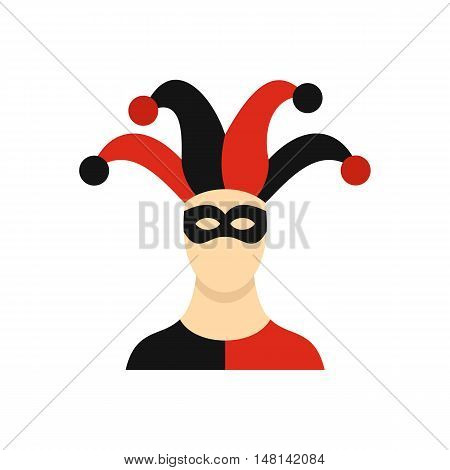 Jester with cap icon in flat style isolated on white background. Circus symbol vector illustration