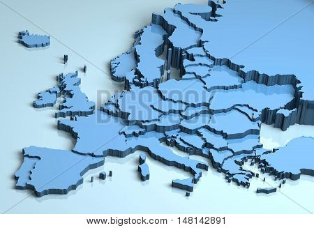 Europe 3D map shape illustration continent mainland countries