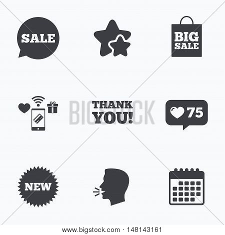 Sale speech bubble icon. Thank you symbol. New star circle sign. Big sale shopping bag. Flat talking head, calendar icons. Stars, like counter icons. Vector