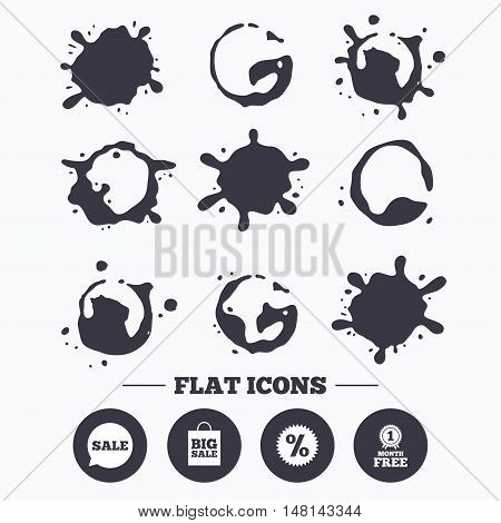 Paint, coffee or milk splash blots. Sale speech bubble icon. Discount star symbol. Big sale shopping bag sign. First month free medal. Smudges splashes drops. Vector